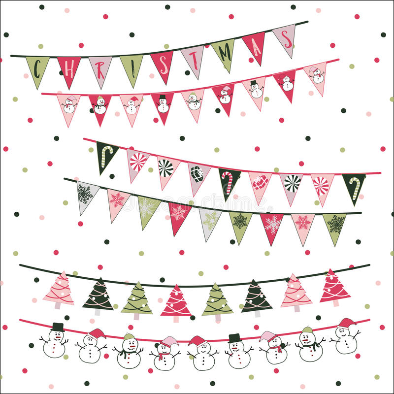 Christmas Triangle Flags vector illustration