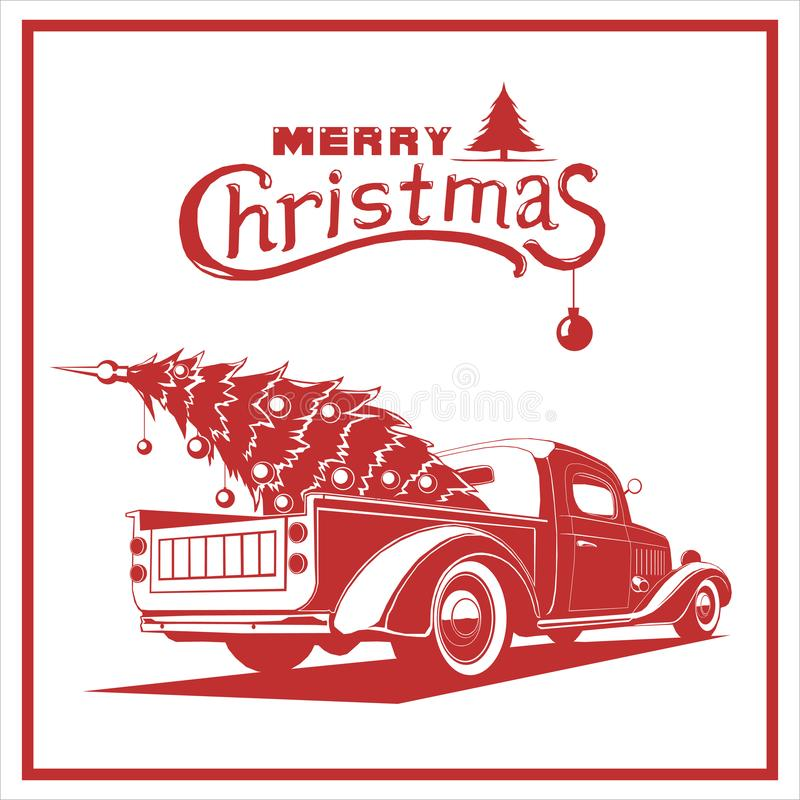 Christmas truck, red color, vector image, old card style stock illustration