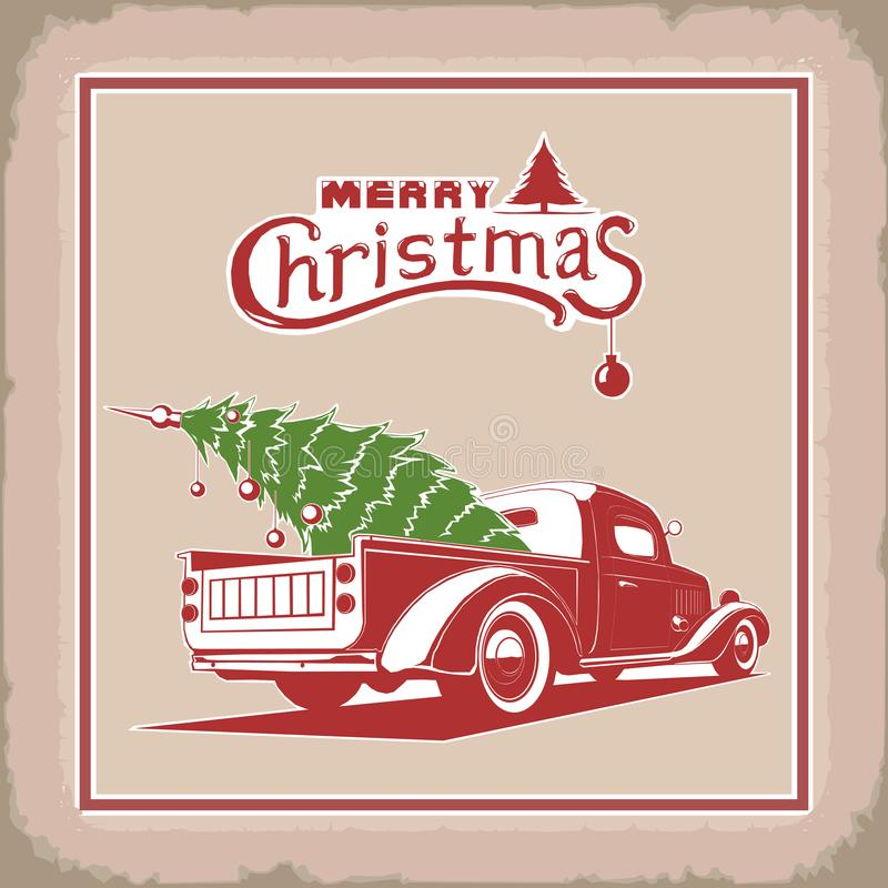 Christmas truck, color, vector image, old card style vector illustration