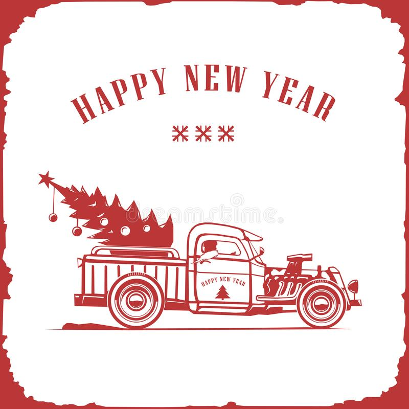Christmas truck, side view red color, vector image, old card style stock illustration
