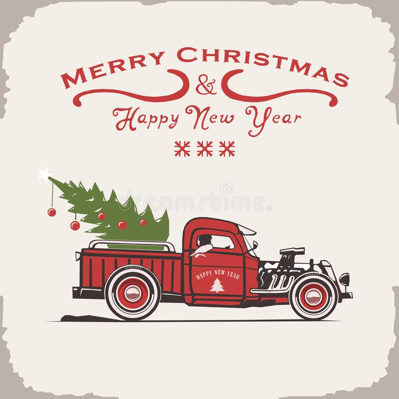 Christmas truck, side view, vector image, old card style vector illustration