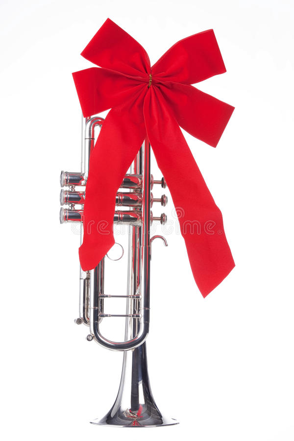 Christmas Trumpet with Bow Isolated stock photo