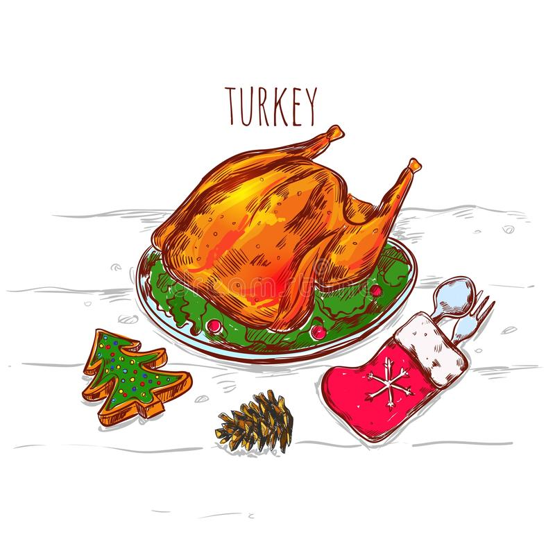 Christmas Turkey Sketch Illustration royalty free illustration