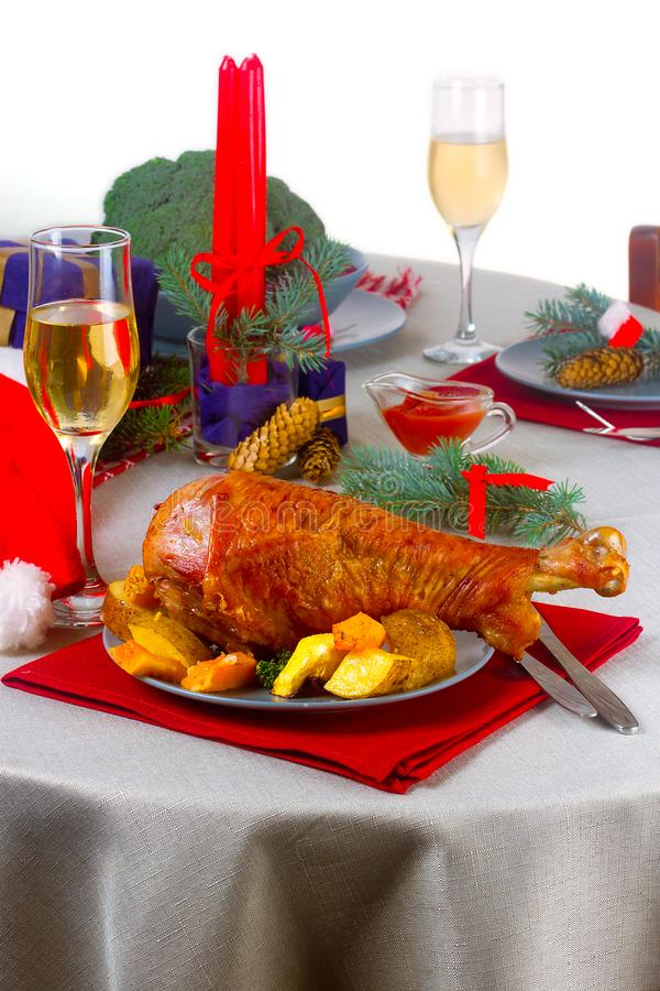 Christmas turkey on the table royalty free stock photo