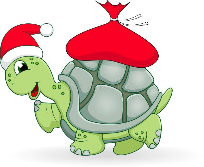 Christmas turtle cartoon vector illustration