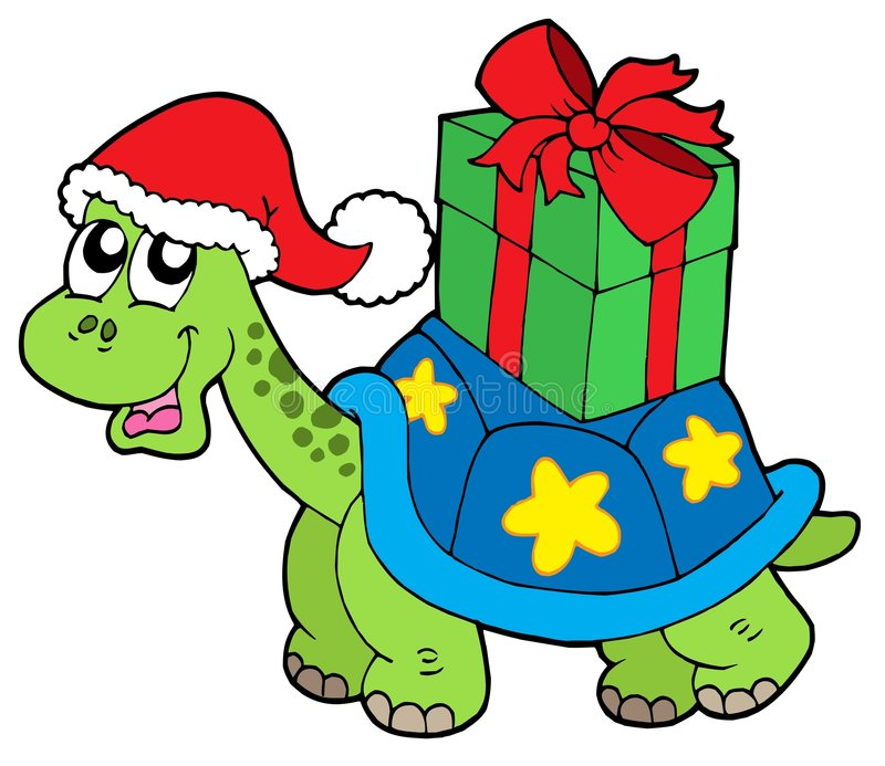 Christmas turtle with gift vector illustration
