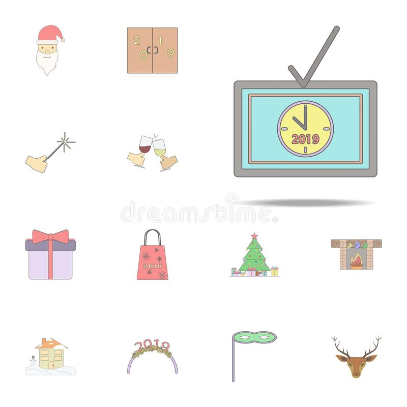 Christmas Tv colored icon. Christmas holiday icons universal set for web and mobile. On white background vector illustration