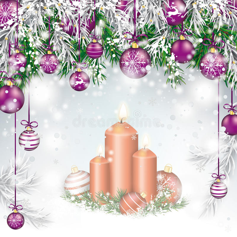 Christmas Twigs Purple Baubles Candles stock illustration