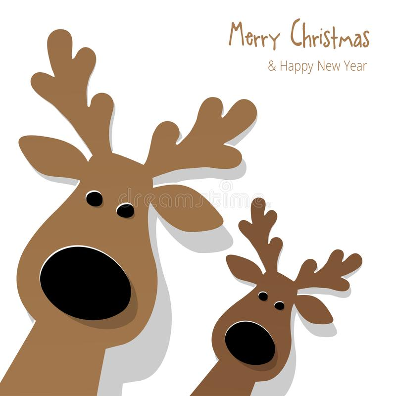 Christmas two Reindeers brown on a white background. stock illustration