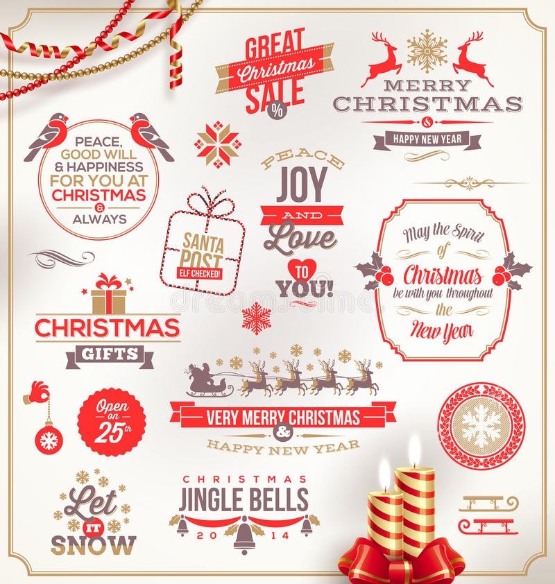 Christmas type design. Set of Christmas signs emblems and Greetings stock illustration
