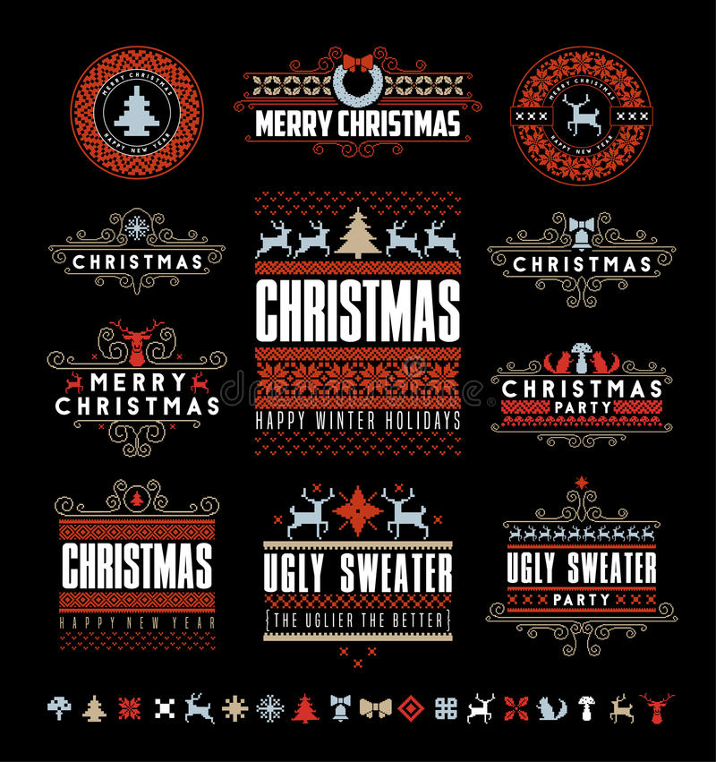 Christmas Typographic and Calligraphic vintage labels, stock illustration