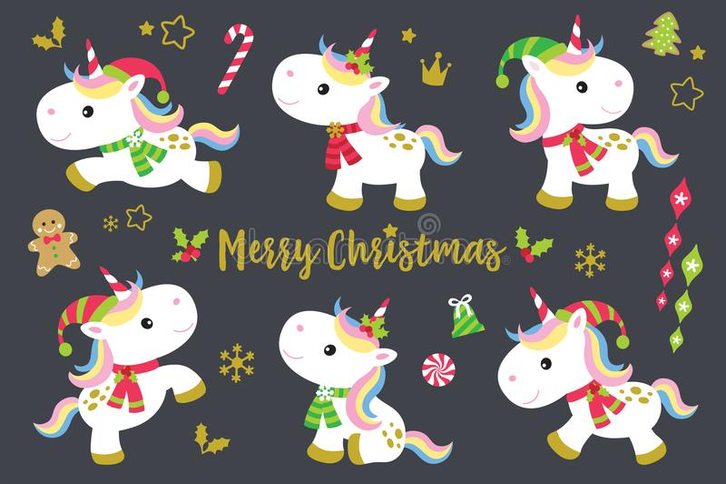 Christmas Unicorns Set. Cute Christmas unicorns vector illustration set plus other decorative Christmas ornaments vector illustration