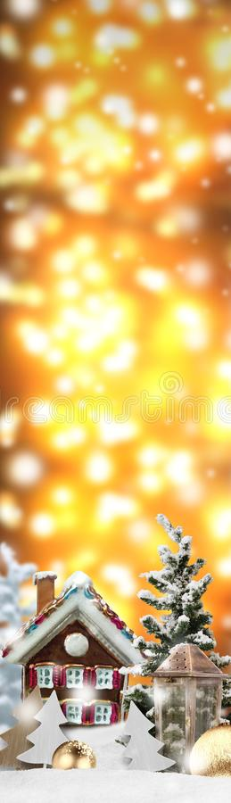 Christmas upright banner background. Christmas upright banner with different Christmas items and symbols and some snow royalty free stock image