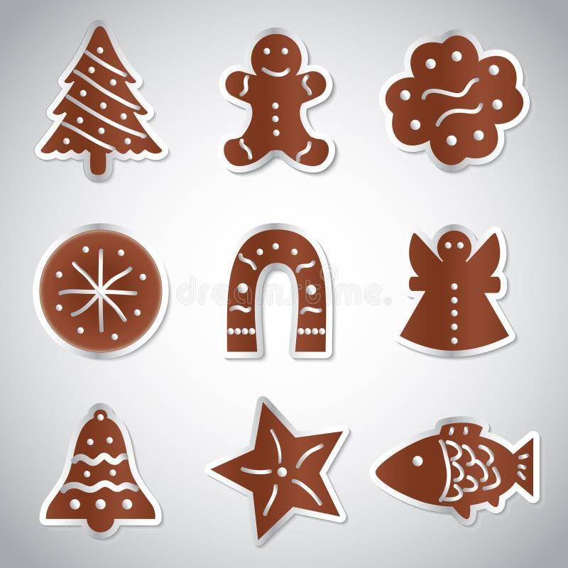Christmas various gingerbread symbols set. Eps10 vector illustration