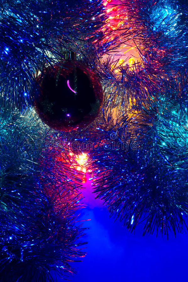 Christmas various lights background blue dominant. Vertical image royalty free stock images