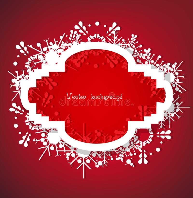 Christmas Vector. Snow on red background with light vector illustration