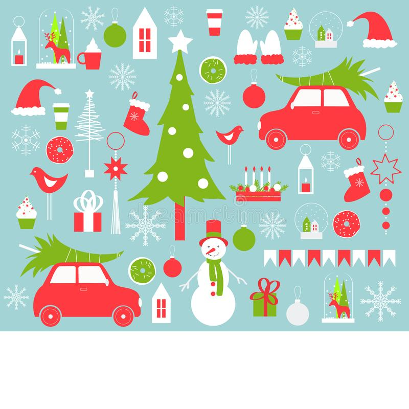 Christmas vector background with snowman and Christmas tre stock illustration