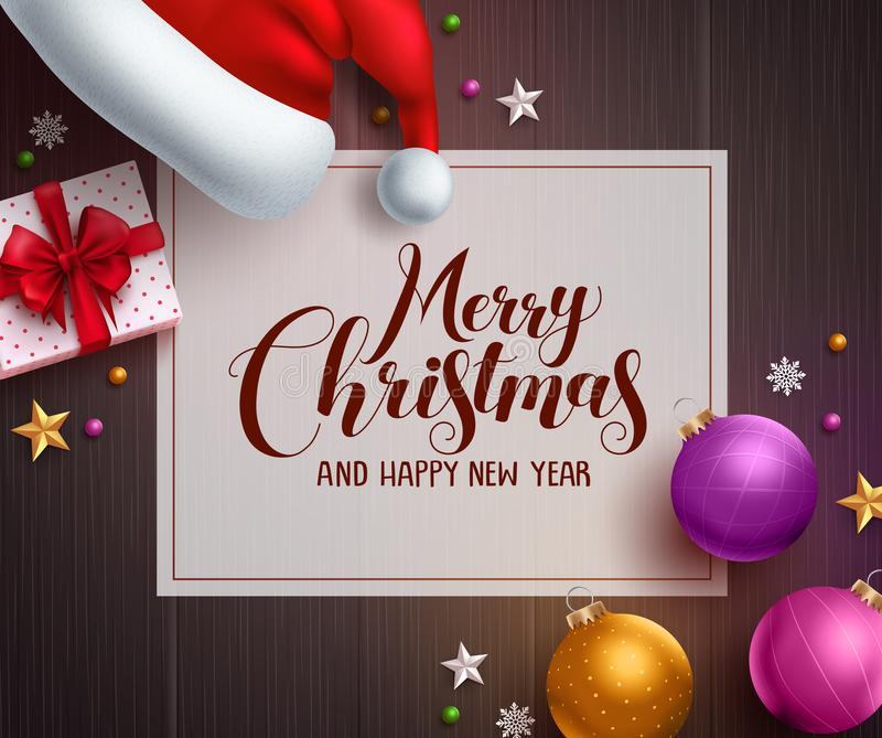 Christmas vector background template with merry christmas greeting text. In white space and colorful elements like santa hat, gift and balls in wood texture vector illustration