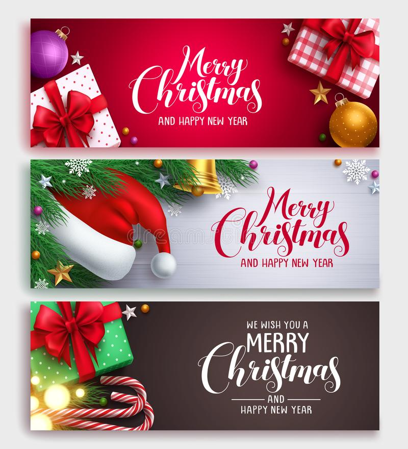 Christmas vector banner design set with colorful backgrounds. Christmas elements and christmas greeting text in white space. Vector illustration vector illustration