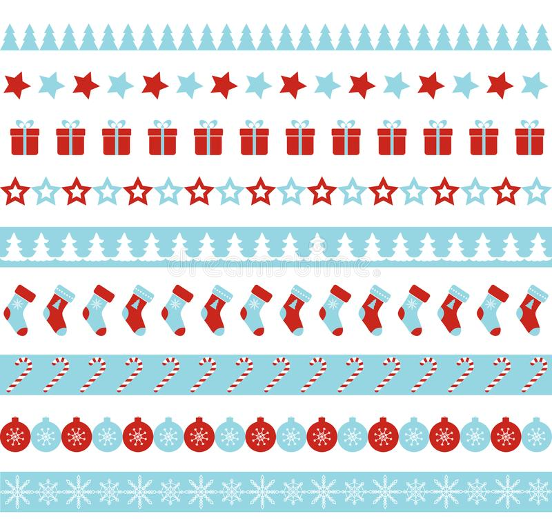 Christmas vector borders. Seamless endless ornament for washi tapes, vector illustration