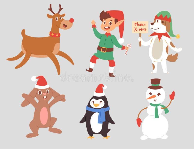 Christmas vector characters cute cartoon Reindeer, Xmas rabbit, Santa dog New Year symbol, elf child boy and penguin stock illustration