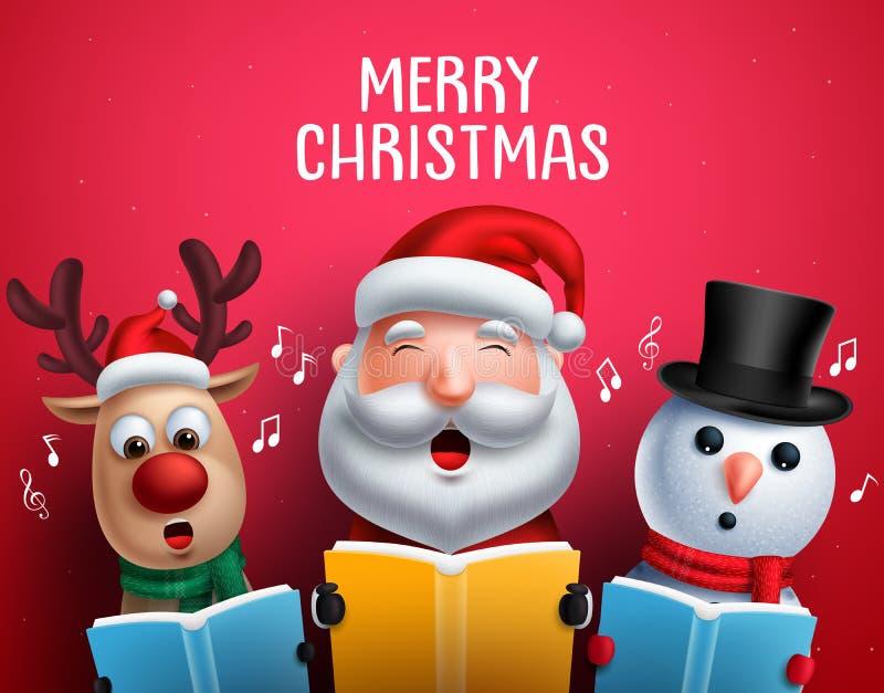 Christmas vector characters like santa claus, reindeer and snowman singing christmas carols royalty free illustration