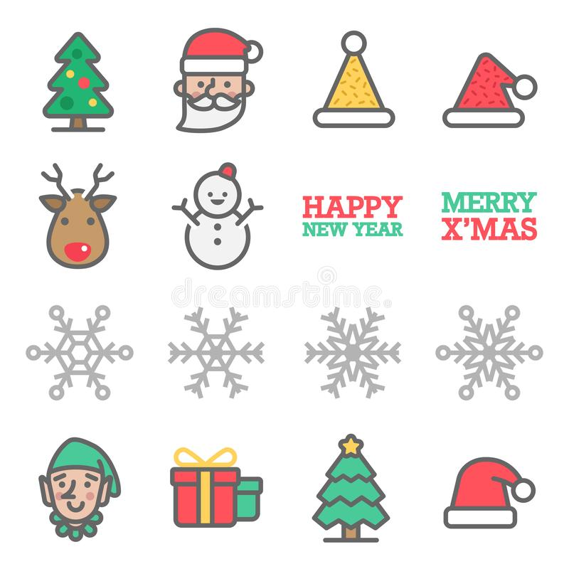 Christmas Vector Color Line Icon Set. Contains such Icons as Santa Claus, Snowflake, Elf, Snowman, Christmas Hat, Gift Box and mo stock illustration