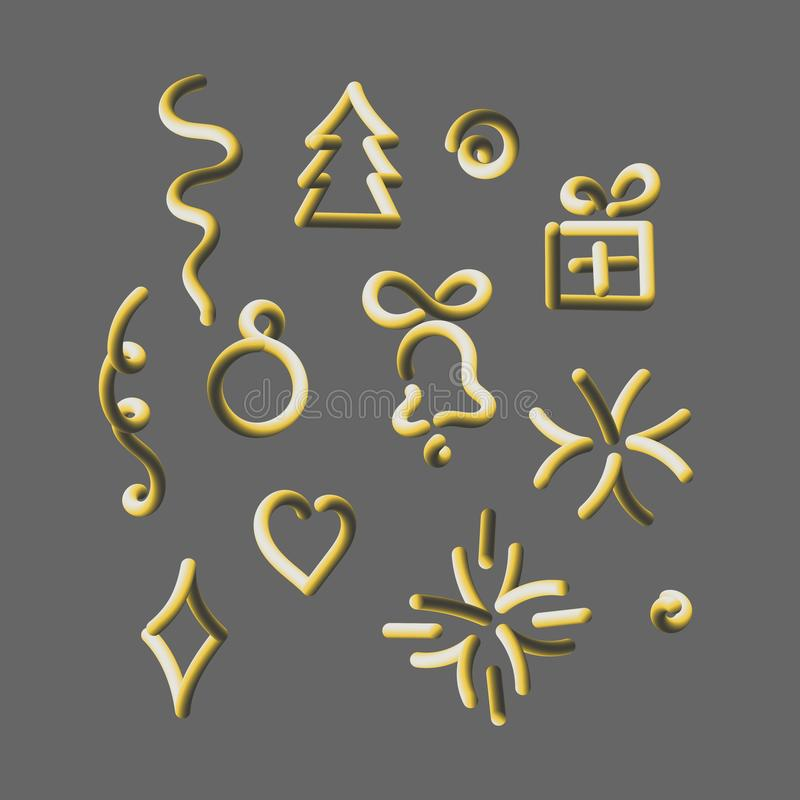 Christmas vector 3D icons. Christmas tree, bell, ball, gift and other design elements vector illustration