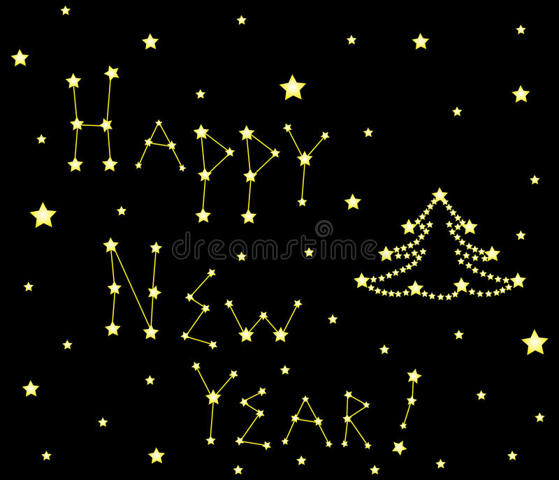 Christmas vector decorative background with words Happy New Year!, shining decorated Christmas tree and stars. Happy New Year vector background vector illustration