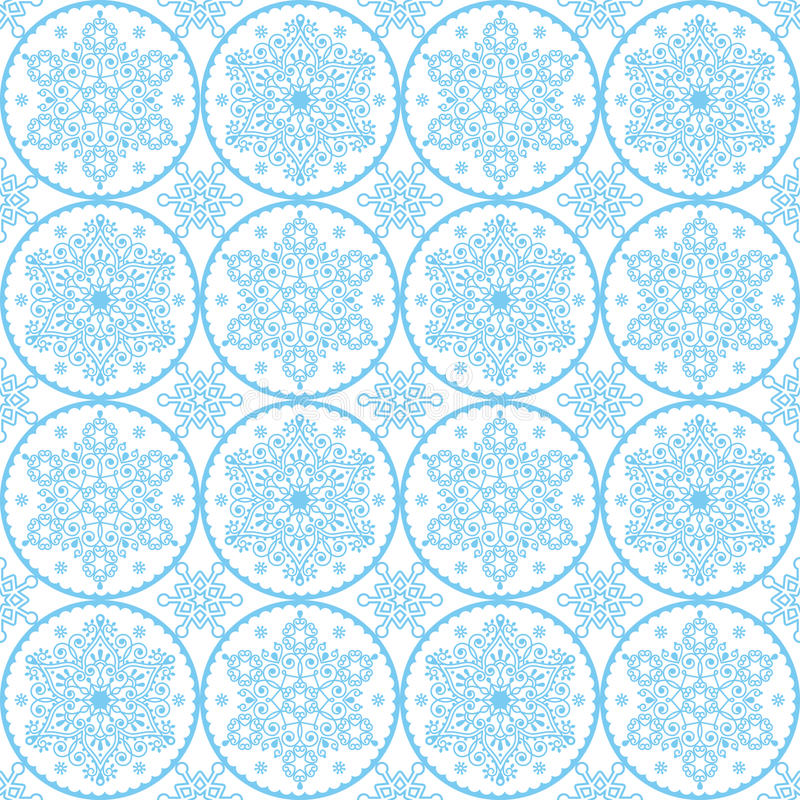 Christmas vector folk art pattern - blue snowflakes seamless design, Scandinavian style Xmas wallpaper, wrapping paper or textile vector illustration