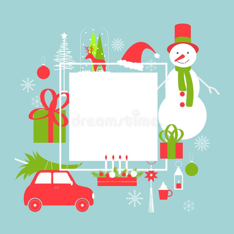 Christmas vector frame with snowman and car stock illustration
