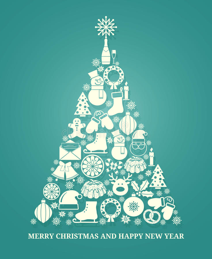 Christmas vector greeting card with a tree vector illustration