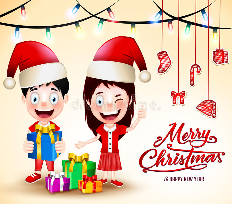 Christmas Vector Illustration with Gifts and Happy Kids Wearing Santa Hat vector illustration