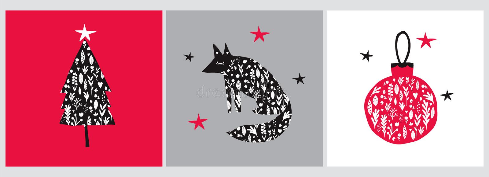 Christmas Vector Illustrations with Red and Black Floral Bauble, Fox and Christmas Tree. vector illustration