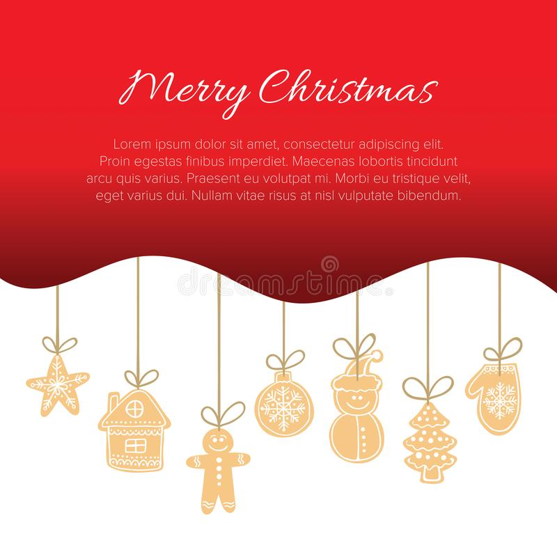 Christmas vector postcard template with wavy red gradient border and gingerbread cookies decoration on jute threads stock illustration