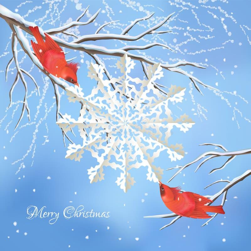 Christmas vector snowflake, birds, tree background stock illustration