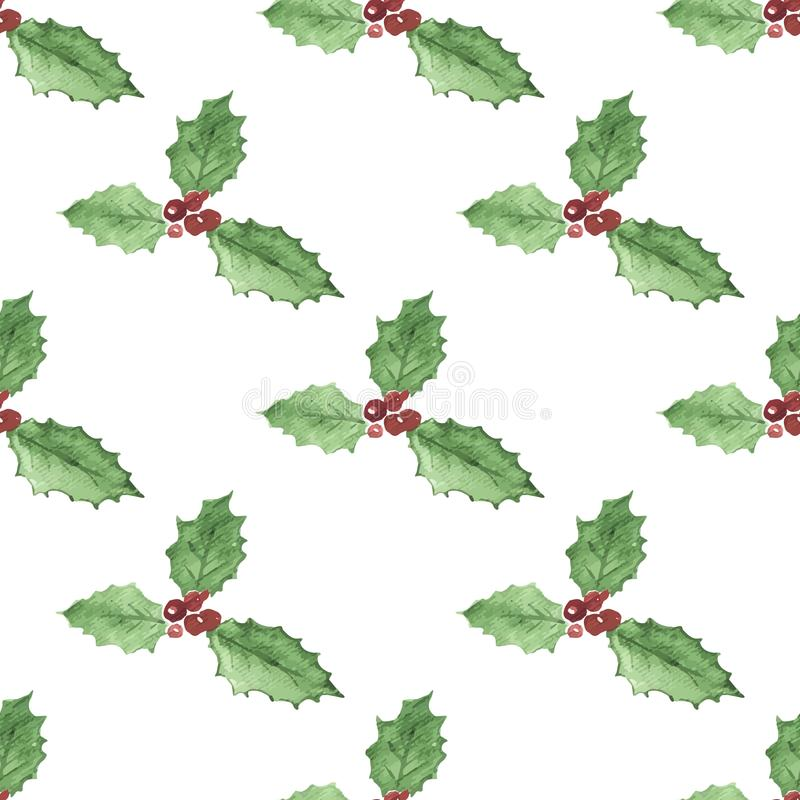 Christmas vector watercolor pattern of red holly berries with green leaves vector illustration