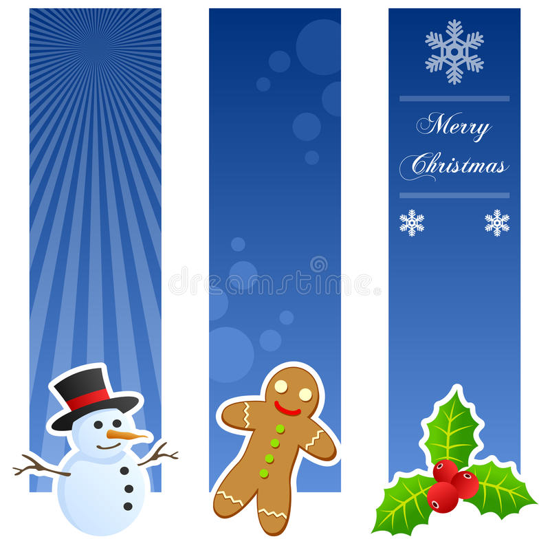 Christmas Vertical Banners. A collection of three Christmas vertical banners with a snowman, a traditional gingerbread cookie and holly berry on blue background stock illustration