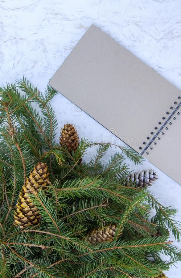 Christmas composition with fir tree branches and cones on white aged background. New Year festive design template. Christmas vertical composition with fir tree stock photography