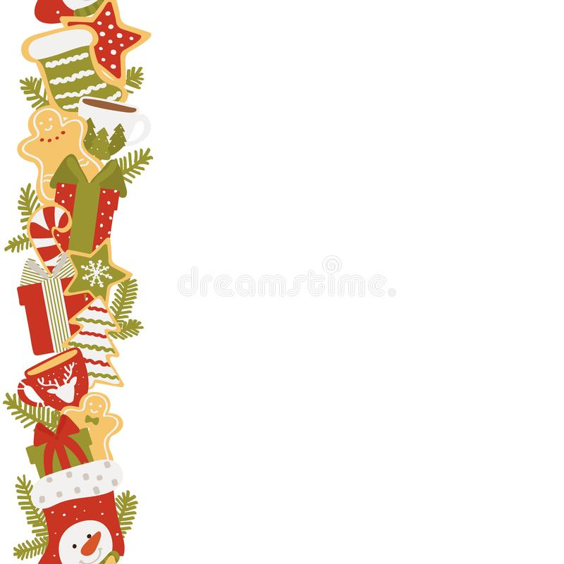 Christmas vertical frame of gifts and sweets isolated on white background. Vector illustration in hand drawn royalty free illustration