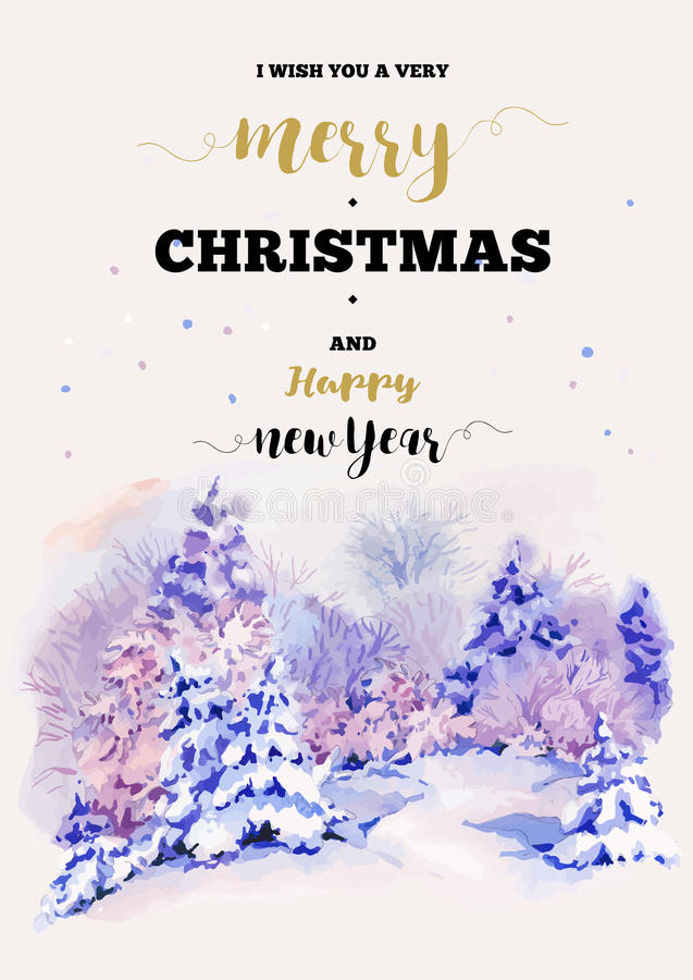 Christmas vertical frame vector card with winter landscape greet. Vintage Christmas vertical frame vector card with cozy countryside winter landscape. Fairytale royalty free illustration