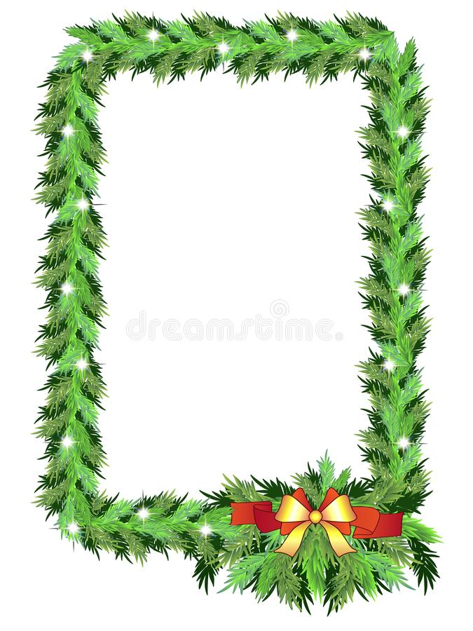 Christmas vertical photo frame from coniferous evergreen branches with bow and asterisks - sparkles - vector vector illustration
