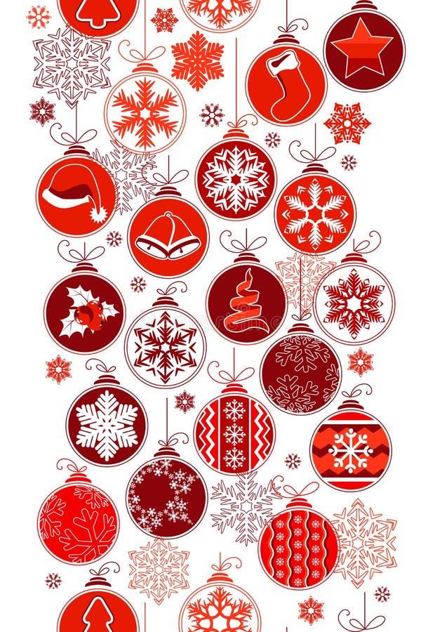 Christmas vertical seamless border with balls vector illustration