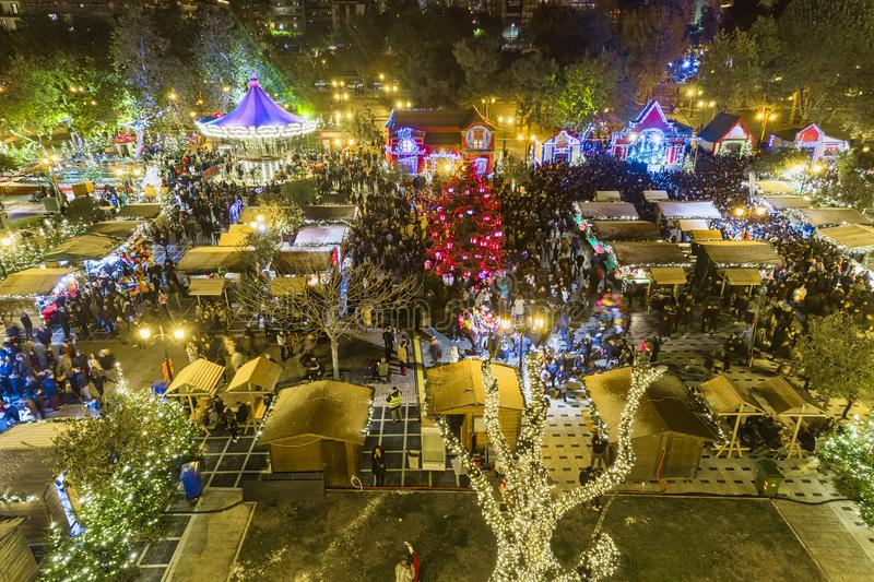 Christmas Village in the center of Thessaloniki stock photos