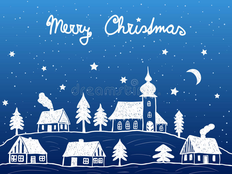 Download Christmas Village With Church At Night Stock Vector - Image: 26602219