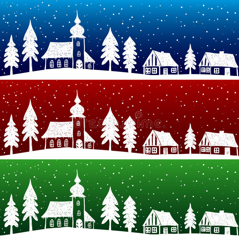 Download Christmas Village With Church Seamless Pattern Stock Images - Image: 26602344