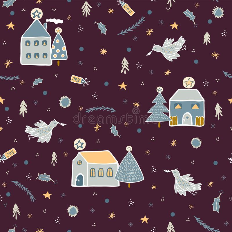 Christmas Village Houses Vector Pattern royalty free illustration