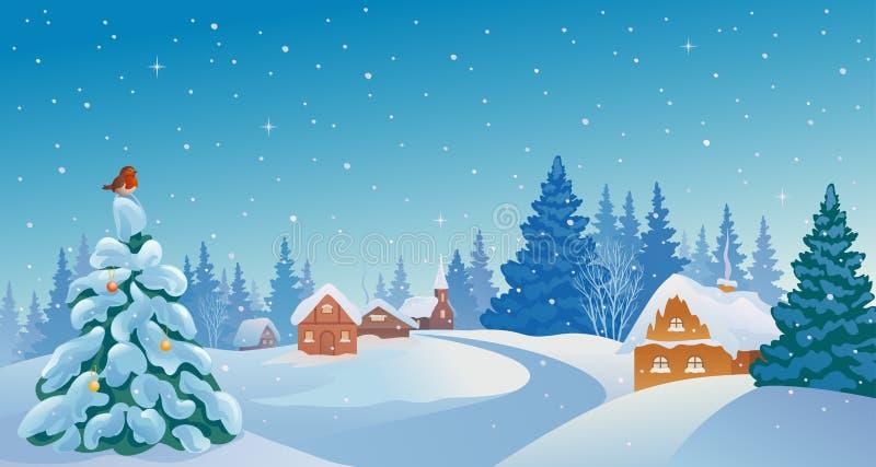 Christmas village. Illustration of a beautiful winter morning village stock illustration