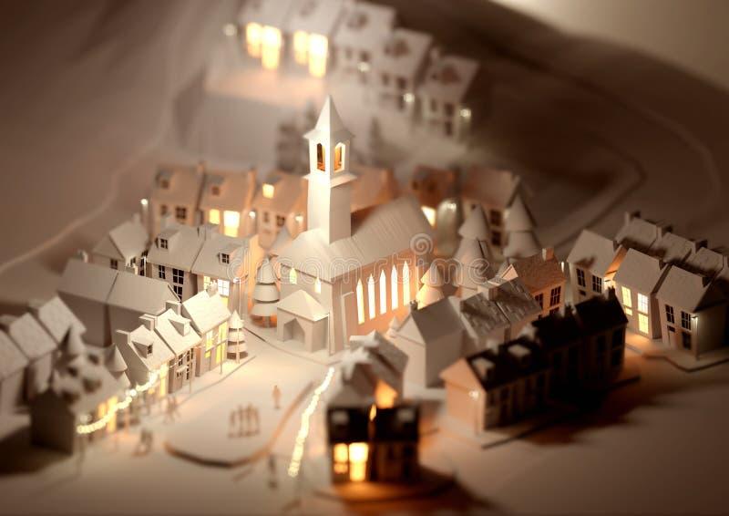 Christmas Village modelo ilustração do vetor