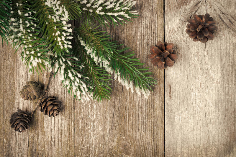 Download Christmas Vintage  Background (with Fir Branches And Cones) Stock Photos - Image: 32634093